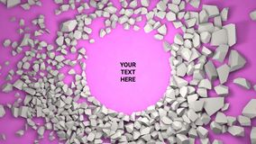 3d render background. Cracked stone placeholder on pink background. 3d render abstract background. Cracked stone after explosion with your text place stock illustration