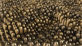 3D render background of gold rounded cylinders. 4k Stock Photography