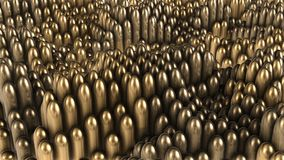 3D render background of gold rounded cylinders. 4k Stock Images