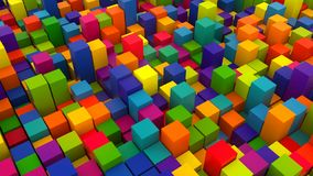 3d render background with many rows of bright colorful cubes, computer generated backdrop vector illustration