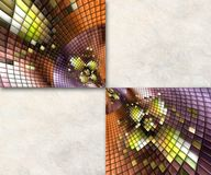 3D render background with puff pixels embellishment. 3D render background template with colorful puff pixels mosaic embellishment and copy space Royalty Free Stock Photography