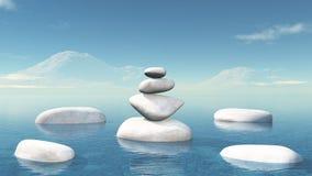 3D balancing pebbles in the ocean. 3D render of balancing pebbles in the ocean Royalty Free Stock Image