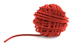 3d render of ball of wool Royalty Free Stock Photo
