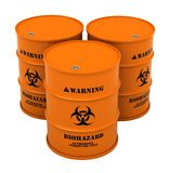Barrels with biohazard substance. 3d render of barrels with biohazard substance isolated over white background Royalty Free Stock Images
