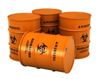Barrels with biohazard substance. 3d render of barrels with biohazard substance isolated over white background Royalty Free Stock Photos
