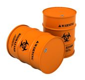 Barrels with biohazard substance. 3d render of barrels with biohazard substance isolated over white background Royalty Free Stock Photo