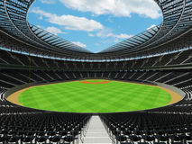3D render of baseball stadium with black seats and VIP boxes Royalty Free Stock Images