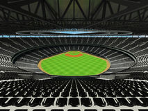 3D render of baseball stadium with black seats and VIP boxes Stock Images