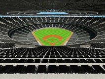 3D render of baseball stadium with black seats and VIP boxes Royalty Free Stock Photography