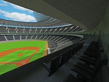 3D render of baseball stadium with black seats and VIP boxes Stock Image
