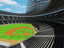 3D render of baseball stadium with black seats and VIP boxes Royalty Free Stock Image
