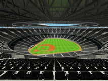3D render of baseball stadium with black seats and VIP boxes Stock Photos
