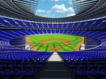 3D render of baseball stadium with blue seats and VIP boxes Royalty Free Stock Photo