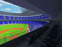 3D render of baseball stadium with blue seats and VIP boxes Royalty Free Stock Photography