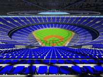 3D render of baseball stadium with blue seats and VIP boxes Stock Photo