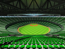 3D render of baseball stadium with green seats and VIP boxes Stock Photography