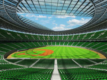 3D render of baseball stadium with green seats and VIP boxes Royalty Free Stock Image