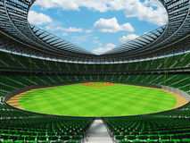 3D render of baseball stadium with green seats and VIP boxes Stock Photo