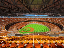 3D render of baseball stadium with orange seats and VIP boxes Stock Images