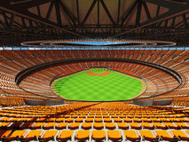 3D render of baseball stadium with orange seats and VIP boxes Royalty Free Stock Photos