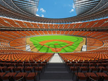 3D render of baseball stadium with orange seats and VIP boxes Royalty Free Stock Image
