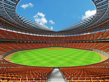 3D render of baseball stadium with orange seats and VIP boxes Stock Photo