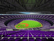 3D render of baseball stadium with purple seats and VIP boxes Royalty Free Stock Photos