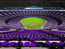 3D render of baseball stadium with purple seats and VIP boxes Royalty Free Stock Photo