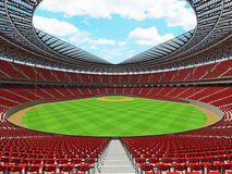 3D render of baseball stadium with red seats and VIP boxes Royalty Free Stock Photos