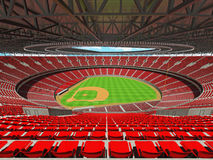 3D render of baseball stadium with red seats and VIP boxes Royalty Free Stock Images
