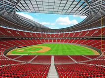 3D render of baseball stadium with red seats and VIP boxes Royalty Free Stock Photography