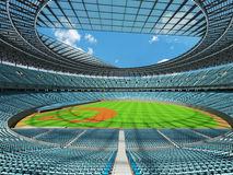 3D render of baseball stadium with sky blue seats and VIP boxes Stock Photos