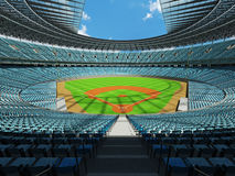 3D render of baseball stadium with sky blue seats and VIP boxes Royalty Free Stock Photo