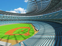 3D render of baseball stadium with sky blue seats and VIP boxes Royalty Free Stock Image
