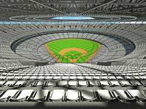 3D render of baseball stadium with white seats and VIP boxes. 3D render of baseball stadium with white seats for hundred thousand people with VIP boxes Royalty Free Stock Photos