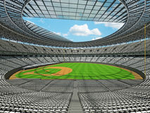 3D render of baseball stadium with white seats and VIP boxes Stock Photography