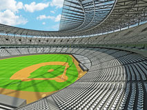 3D render of baseball stadium with white seats and VIP boxes Royalty Free Stock Photo