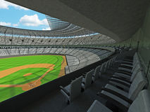 3D render of baseball stadium with white seats and VIP boxes Stock Image