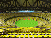 3D render of baseball stadium with yellow seats and VIP boxes Royalty Free Stock Photo