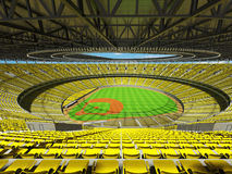 3D render of baseball stadium with yellow seats and VIP boxes Stock Photos