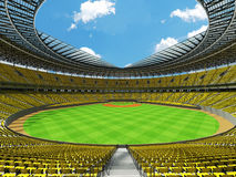 3D render of baseball stadium with yellow seats and VIP boxes Stock Photo