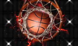 3d render Basketball fire through hoops vertical camera. And fire splash Royalty Free Stock Image