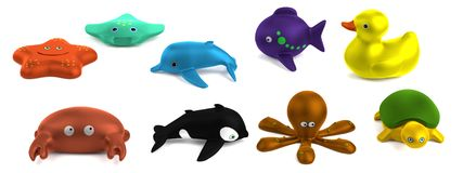 3d render of bath toys. Realistic 3d render of bath toys Royalty Free Stock Image