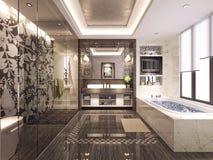 3d render of bathroom. 3d render of luxury modern bathroom Royalty Free Stock Photo