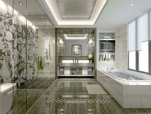 3D render of bathroom. 3D render of modern bathroom with bathtub Stock Images