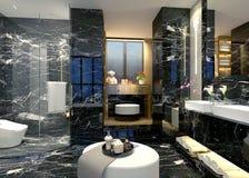 3D render of bathroom. 3D render of modern bathroom with bathtub Royalty Free Stock Photo