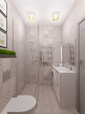 3D render of a bathroom in a modern style. 3D illustration of a bathroom in a modern style Stock Images
