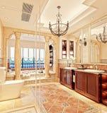 3d render of bathroom. 3d render of vintage bathroom with sea view Royalty Free Stock Photo