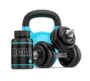3d render of BCAA bottle with dumbbells and kettlebell Stock Images