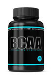 3d render of BCAA bottle with pills over white Royalty Free Stock Photography